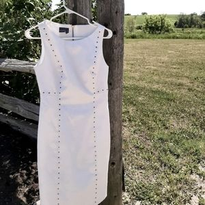 Gorgeous white fitted dress with stud detail